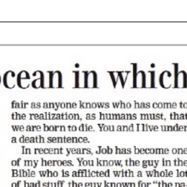 "Essay:  ""God is the ocean in which we all swim"